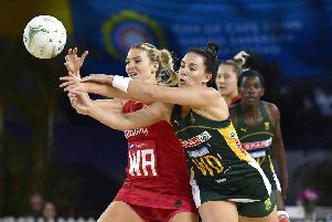 CAPE TOWN, SOUTH AFRICA - DECEMBER 01: Natalie Haythornthwaite of England and Shadine van der Merwe of South Africa during the 3rd Spar Challenge, International Netball Test Series match between South Africa and England at Bellville Velodrome on December 01, 2019 in Cape Town, South Africa. (Photo by Ashley Vlotman/Gallo Images)