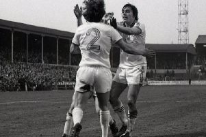 Brian Taylor (2) and Mick Robinson congratulate Alex Bruce after scoring for Preston during a 6-1 win over Charlton Athletic