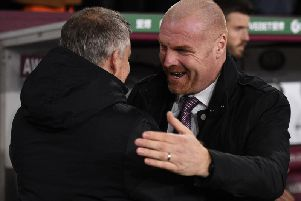Burnley boss Sean Dyche with Manchester United manager Ole Gunnar Solskjaer