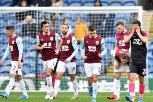George Boyd puts his head in his hands as the Clarets score on his return to Turf Moor with Peterborough United in the Emirates FA Cup