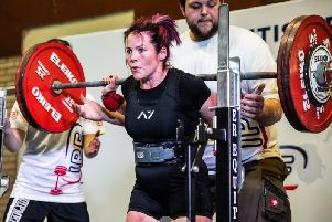 Powerlifter Sinead Hines competing at the British Powerlifting Championships last year Photo: White Lights Media