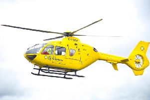 A man was airlifted to Blackburn Hospital yesterday with suspected head injuries