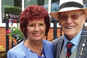 RAF and Battle of Britain veteran Roy Hardacre with his partner Barbara Wright-Hurst