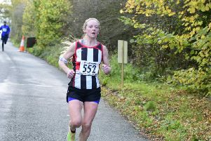 Helen Buchan on her way to success in the Accrington 10K on Sunday.