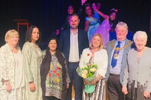Pendle MP Andrew Stephenson (centre) with the Mayor and Mayoress of Pendle Coun. James Starkie and his wife Janet and other guests at the 20th anniversary celebrations for Pendle Women's Forum.