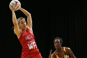 England Roses' Natalie Haythornthwaite (left) in action during the Vitality Netball International Series match at The Echo Arena, Liverpool. PRESS ASSOCIATION Photo. Picture date: Tuesday November 27, 2018. See PA story NETBALL England. Photo credit should read: Nigel French/PA Wire.