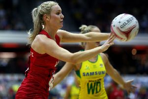LONDON, ENGLAND - JANUARY 20: Natalie Haythornthwaite England Roses in action during the Vitality Netball International Series match between England Vitality Roses and Australian Diamonds, as part of the Netball Quad Series at Copper Box Arena on January 20, 2019 in London, England. (Photo by Charlie Crowhurst/Getty Images for England Netball)