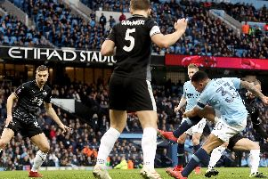 Gabriel Jesus opens the scoring for City against the Clarets at the Etihad
