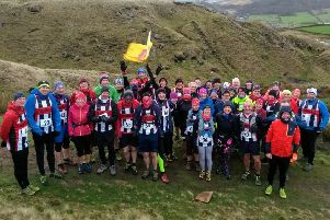 Trawden AC members before the Pendleton Fell Race on Sunday