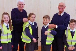 Rotarians and pupils at St James Lanehead