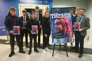 The launch of the latest edition of the Themis Careers magazine, with cover star Carla Birtwistle, Paul Sharples, Themis Business Solutions Manager, and Themis Gold apprenticeship candidates