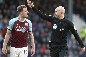 Ashley Barnes remonstrates with referee Anthony Taylor during the game against Southampton at Turf Moor