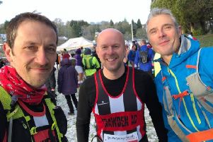 Pie and Pint Ultra winner Paul Brown (left) with David Fort and Mark Storey