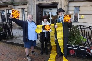 Campaigners David Whipp, Dorothy Lord, Tony Greaves outside County Hall, Preston