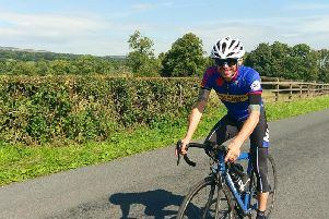 Gary Kay on his bike all ready for the challenge. (s)
