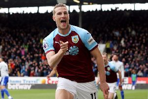 Burnley's Chris Wood celebrates scoring the opening goal ''Photographer Rich Linley/CameraSport''The Premier League - Saturday 13th April 2019 - Burnley v Cardiff City - Turf Moor - Burnley''World Copyright � 2019 CameraSport. All rights reserved. 43 Linden Ave. Countesthorpe. Leicester. England. LE8 5PG - Tel: +44 (0) 116 277 4147 - admin@camerasport.com - www.camerasport.com