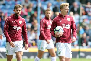 Burnley's Ben Mee (right) and Charlie Taylor during the pre-match warm-up ''Photographer Rich Linley/CameraSport''The Premier League - Saturday 13th April 2019 - Burnley v Cardiff City - Turf Moor - Burnley''World Copyright � 2019 CameraSport. All rights reserved. 43 Linden Ave. Countesthorpe. Leicester. England. LE8 5PG - Tel: +44 (0) 116 277 4147 - admin@camerasport.com - www.camerasport.com