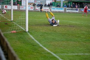 Alex Curran's effort finds the net against Radcliffe'''Picture: Andy Pritchard