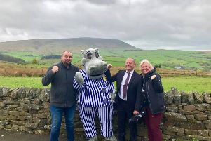 (Left to right)  SafeSpace project manager Ben Peverley, Silentnight Hippo, Ian Fortune, operations process improvement and industrial engineering manager at Silentnight and  Claire Bennet, charity manager for Positive Action in the Community