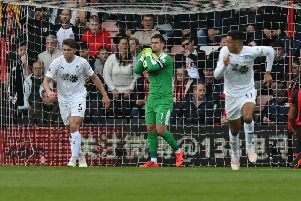 Safe hands from Clarets captain Tom Heaton in the game against AFC Bournemouth