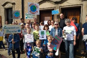 Climate change activists - young and old - gather in Clitheroe