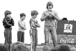 An event with Keith 'Cheggers' Chegwin in 1985.