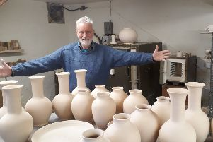 Fangfoss Pottery owner Gerry Grant with some of the pots to be used in the play at The John Cooper Studio.