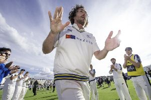 Yorkshire's Ryan Sidebottom leaves the field at North Marine Road, Scarborough, for the last time to a guard of honour (Picture: Allan McKenzie/SWpix.com).