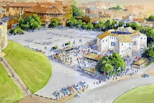 An artist's impression of what the pop-up Shakespearean theatre in York is intended to look like
