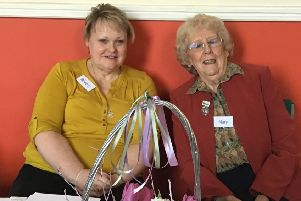 Pocklington Wolds WI's incoming and outgoing presidents Beverley Lawrence (left) and Mary Childs.