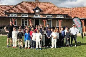 The Byas Academy Easter cricket camp outside Pocklington School's cricket pavilion.