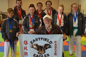 Councillor Tony Randerson is pictured with members of the Eastfield Eagle karate team.