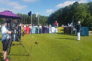Competitors tee off during the William Hunt Trilby Tour event at The Kilnwick Percy Resort.