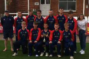 The Woodhouse Grange Under 19s squad that won the Yorkshire Premier League North T20 finals day at Scarborough recently. Front centre is Tim Wood's son and U19s captain Christopher. Photo submitted