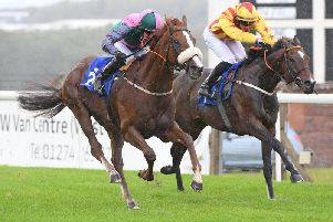 Ayutthaya, under jockey Tom Eaves, wins the Simon Scrope Dalby Screw-Driver Handicap at Pontefract. Picture: Alan Wright