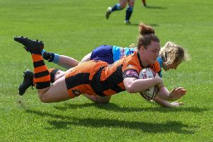 Maisie Lumb, who scored two tries in Castleford Tigers Women's play-off semi-final win over Wigan Warriors.