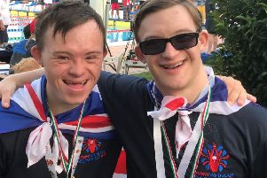 Able2 Pontefract Special Olympics and Pontefract Marlins ASC members Thomas Raddings and Jake Vicars who retained their title of Best European Team at the 5th Open European DSISO Swimming Championships held in Olbia, Sardinia.
