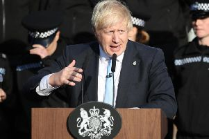 Prime Minister Boris Johnson gives a speech to police officers during a visit on September 5, 2019 in Wakefield, West Yorkshire. Photo: Danny Lawson - WPA Pool/Getty Images