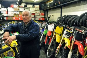 Roy Thompson owner of Wakefield Off Road Motorcycles at the premises.