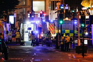 Emergency services working at the scene of the Manchester Arena Bombing. Picture: SWNS