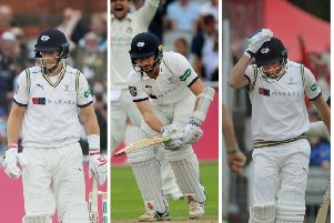 ONE-TWO-THREE: Joe Root, Kane Williamson and Jonny Bairstow were the three victims in Jordan Clark's memorable hat-trick at Old Trafford. Picture: Steve Riding.