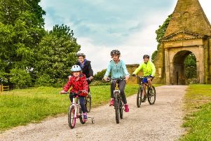 A family on Nostell's cycle trail in the parkland.  Photo by Simon Dewhurst.