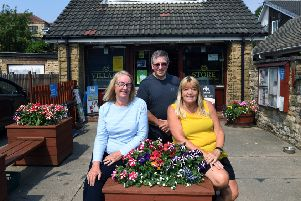 Darrington village is getting older. Pictured outside the village store, from left, Carole Morrell, Andy Tagger and Gail  Jenkins. 24th July 2018. Picture Jonathan Gawthorpe