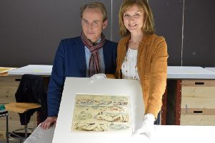 Philip Mould and Fiona Bruce from BBC One programme Fake Or Fortune? which has  identified among a Nazi art hoard housed in the Museum of Fine Art in Bern in Switzerland an authentic watercolour sketch by the British 20th-century sculptor Henry Moor