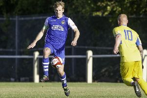 Spencer Clarke, who scored a consolation goal for Pontefract Collieries.