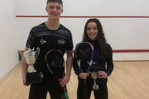 Sam Todd pictured with Jasmine Hutton after they both triumphed in the British U23 Squash Championships at Roehampton.