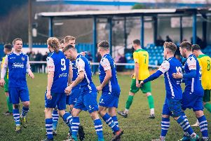 Pontefract Collieries players celebrate a goal against Wisbech Town. Picture: James Heaton