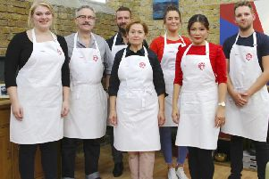 Phil, third from the left, with his fellow contestants. (Pic supplied by BBC/Shine TV Ltd)