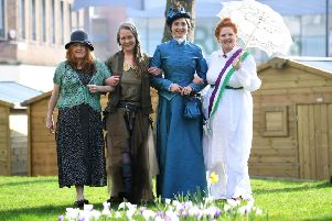 The Forgotten Women of Wakefield project wants blue plaque parity for men and women. fluential females. Members Susan Hawksley, Shannon Wishon, Amy Charles and Sarah Cobham.