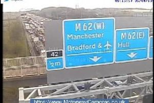 Traffic queuing on the M1 this morning.